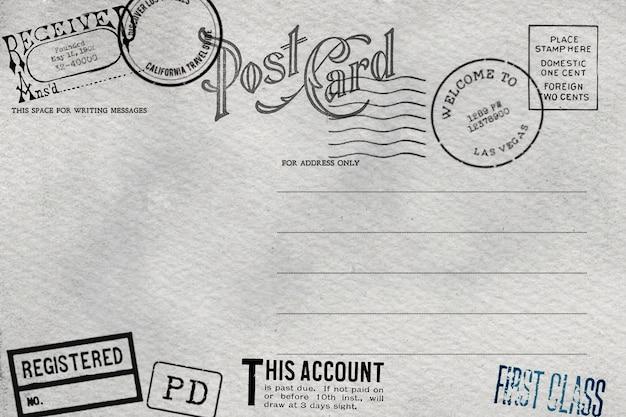 Rückseite der leeren postkarte mit schmutzigem fleck Premium Fotos