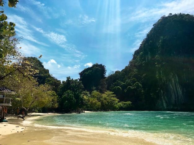 Ruhige strandlandschaft in krabi thailand Kostenlose Fotos