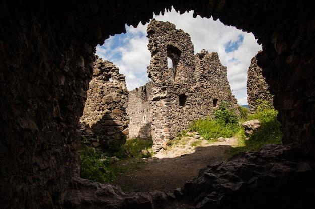 Ruinen des schlosses nevytske in der transkarpatienregion. Premium Fotos