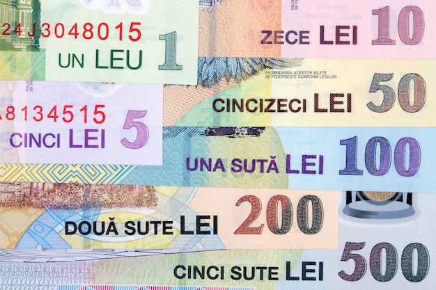 Rumänisches geld - leu eine geschäftsoberfläche Premium Fotos