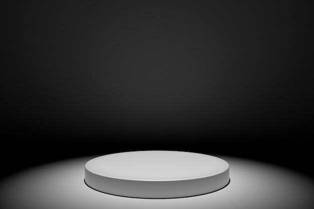 Runde weiße stadiumspodium-konzeptillustration lokalisiert auf schwarzem hintergrund. festliche podiumszene zur preisverleihung. weißer sockel zur produktpräsentation. 3d-rendering Premium Fotos