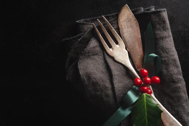 Rustikales besteck der weihnachtsweinlese Kostenlose Fotos