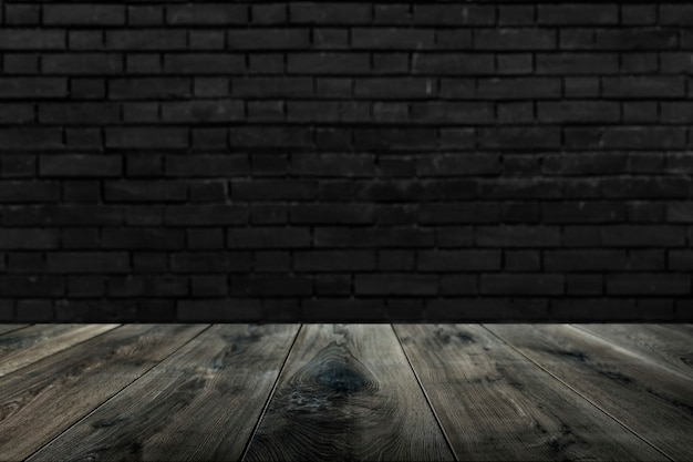 Rustikales holzbrett mit backsteinmauer Kostenlose Fotos