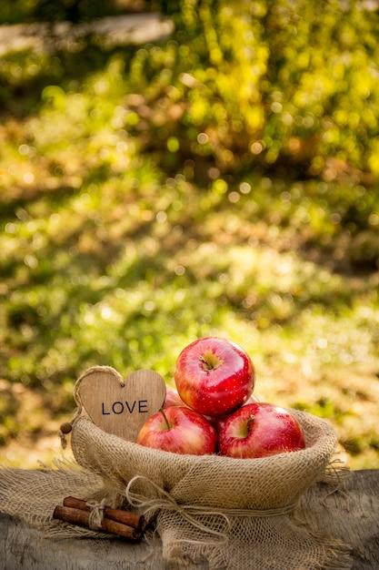 Saftige reife äpfel in einem korb auf einem natürlichen natürlichen hintergrund. rote bio-äpfel. ernte. Premium Fotos