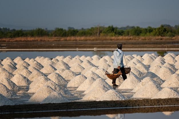 Salzbauern tragen salz in den schuppen Premium Fotos