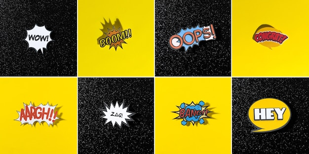 Sammlung für komische artchatblase für unterschiedliches wort auf schwarzem und gelbem hintergrund Kostenlose Fotos