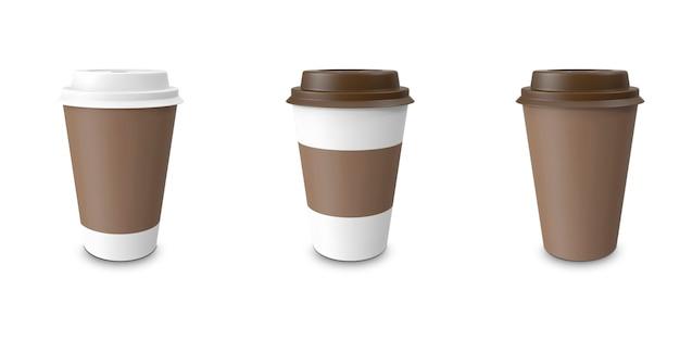 Sammlung, gruppe, set, kaffee zum mitnehmen mit getränkehalter. isoliert Premium Fotos