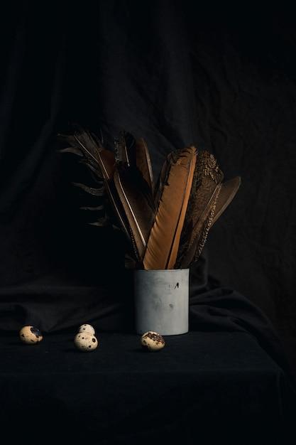 Sammlung von wachteleiern nahe federn kann herein Kostenlose Fotos