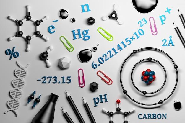 Sammlung von wissenschaftschemie-forschungs-utencils Premium Fotos