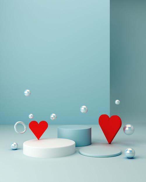 San valentines szene mit geometrischen formen mit leeren podium. geometrische formen Premium Fotos