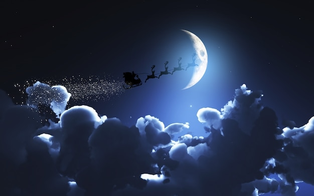 Santa und sein schlitten fliegen in einem mondhellen himmel Premium Fotos