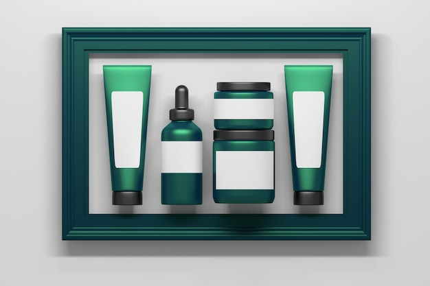 Satz der grünen kosmetikverpackungsflaschen-rohrsammlung mit den weißen leeren klaren aufklebern inframed im großen grünen rahmen Premium Fotos