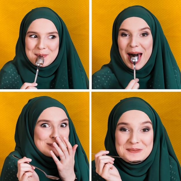 Satz des weißen essens des gesichtsausdrucks der moslemischen frau mit löffel Kostenlose Fotos