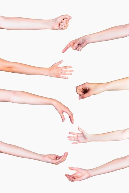 Satz verschiedene handzeichen auf weißem hintergrund Kostenlose Fotos
