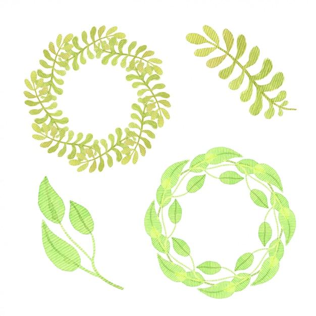 Satz von grünen blättern und rahmen. isolierte aquarell sammlung. für verpackungsdesign oder einladungskarte. Premium Fotos