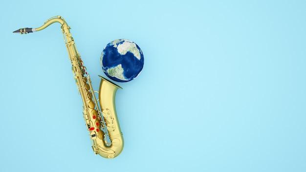 Saxophon und erde für grafik jazz- oder bluesmusik auf hellblau- illustration 3d Premium Fotos
