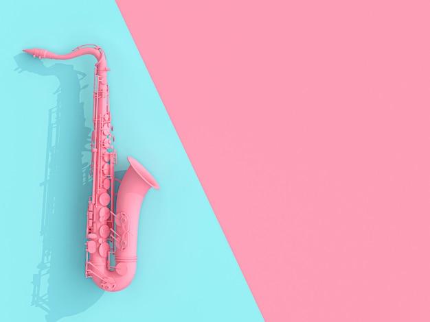 Saxophonbild 3d übertragen auf rosa und blau Premium Fotos