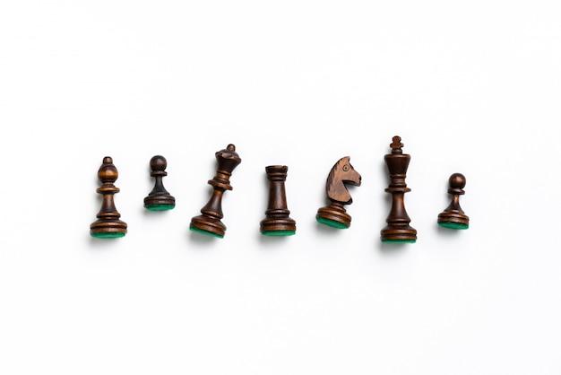 Schach online und strategiegeschäftskonzept von der draufsicht Premium Fotos