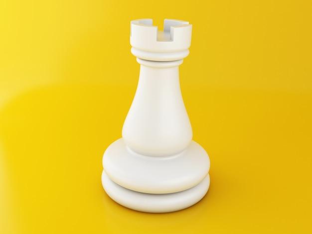 Schachfigur 3d auf gelb Premium Fotos
