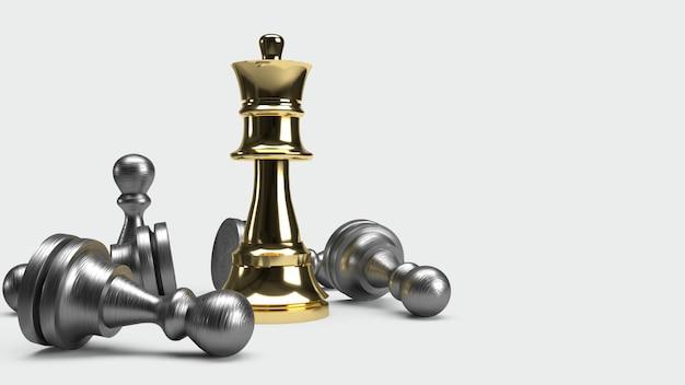 Schachspiel 3d, das abstrakte idee für geschäftsinhalt überträgt. Premium Fotos