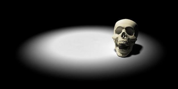 Schädel auf dem boden. apokalypse und hölle konzept. 3d-rendering. Premium Fotos