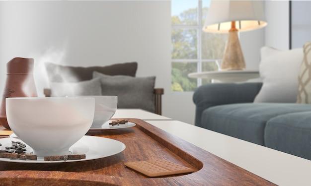 Schärfentiefe der wiedergabe 3d netter kaffee mit etwas rauche auf dem tisch Premium Fotos