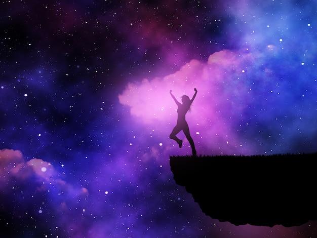 Schattenbild 3d einer frohen frau gegen einen raumnächtlichen himmel Kostenlose Fotos