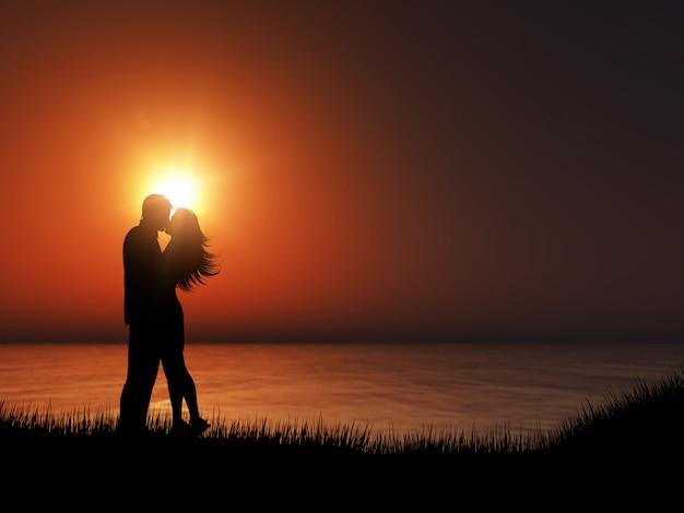 Schattenbild 3d eines paares, das gegen eine sonnenuntergangozeanlandschaft küsst Kostenlose Fotos