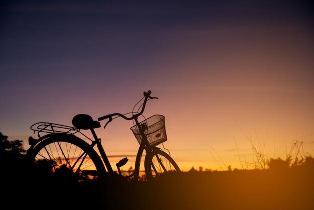 Schattenbild des weinlese-fahrrades am sonnenuntergang Kostenlose Fotos