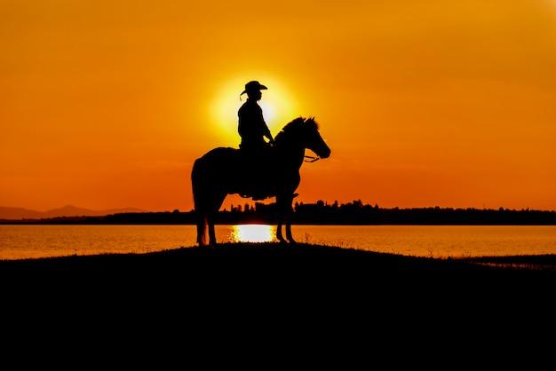 Schattenbildcowboy zu pferd Premium Fotos