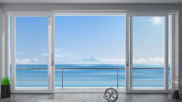 Schiebeaußentür mit zwei weißen fensterläden. Premium Fotos