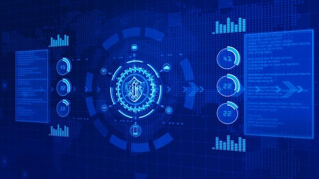Schild-symbol auf secure digital data, cyber-sicherheitskonzept Premium Fotos
