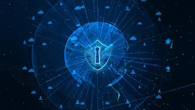 Schild-symbol für sicheres globales netzwerk, cyber security und schutz personenbezogener daten. von der nasa eingerichtetes erdelement Premium Fotos