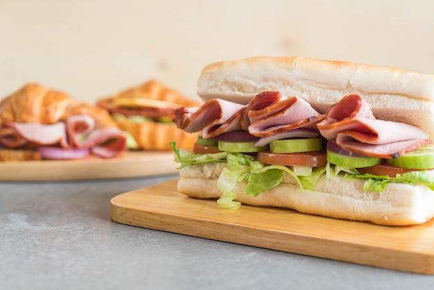 Schinken und salat u-boot-sandwich Kostenlose Fotos