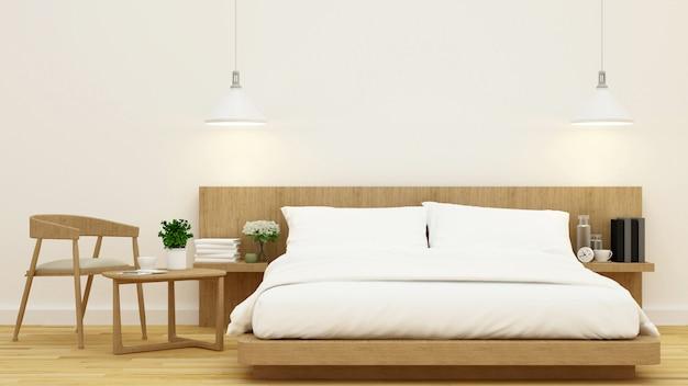 Schlafzimmer im hölzernen design und rahmen für wiedergabe der grafik 3d Premium Fotos