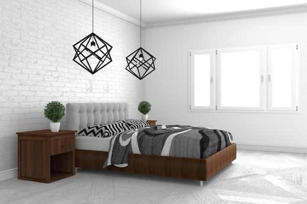Schlafzimmer In Der Modernen Innenarchitektur Auf Weissem Boden Und