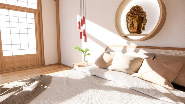 Schlafzimmer modell mit holzbett in japan minimal design. . Premium Fotos