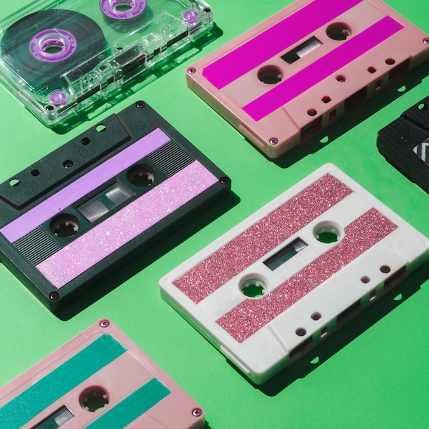 Schließen sie herauf bunte kassettensammlung des schusses Kostenlose Fotos
