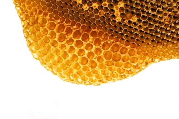 Schließen sie herauf gelbe schöne bienenwabe mit honig Premium Fotos