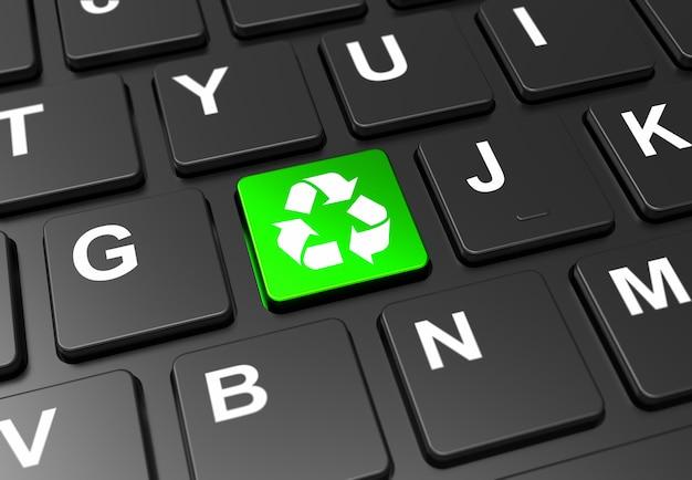 Schließen sie herauf grüne taste mit bereiten sie zeichen auf schwarzer tastatur auf Premium Fotos