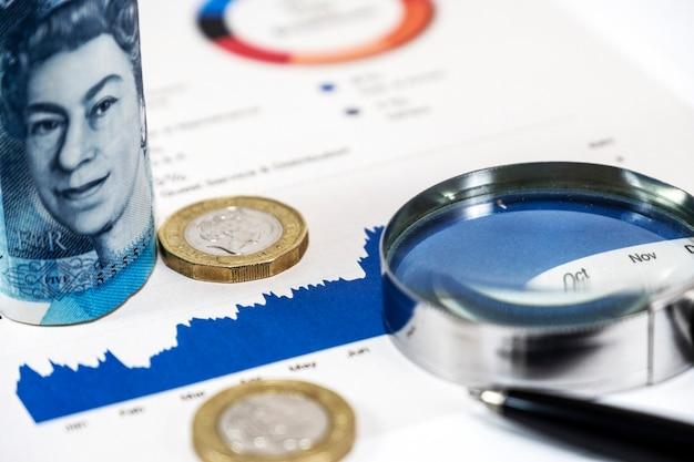 Schließen sie herauf kapitaldiagramm und pfund sterling banknote und münzen mit vergrößerungsglasglas Premium Fotos