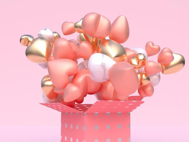 Schließen sie herauf rosafarbene weiße metallische glatte ballonherzform levitation rosa geschenkbox der abstrakten wiedergabe des valentinsgrußkonzeptes 3d Premium Fotos