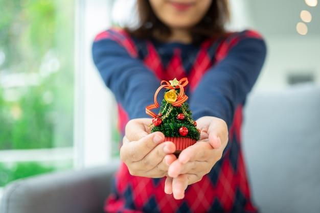 Schließen sie herauf schuss von den weiblichen händen, die einen kleinen weihnachtsbaum halten feiern sie weihnachten Premium Fotos