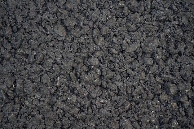 Schließen sie herauf vollrahmen-schuss schwarzer asphalt-straßenboden-texturhintergrund Premium Fotos