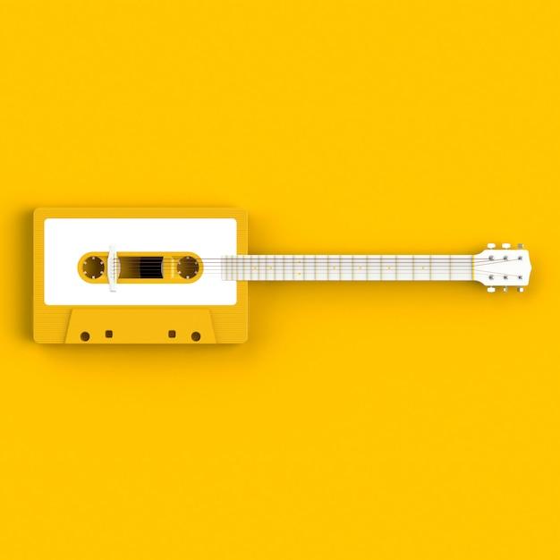 Schließen sie oben von der tonbandkassette der weinlese mit akustikgitarrenkonzeptillustration Premium Fotos
