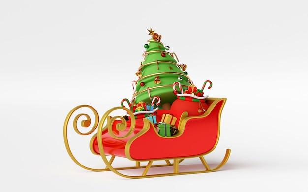 Schlitten voller weihnachtsgeschenke und weihnachtsbaum-3d-rendering Premium Fotos