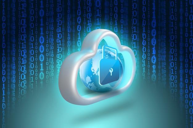 Schlosssymbol im cloud-datenspeicher mit binärcode Premium Fotos