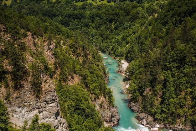 Schlucht des flusses tara in den bergen von montenegro Premium Fotos
