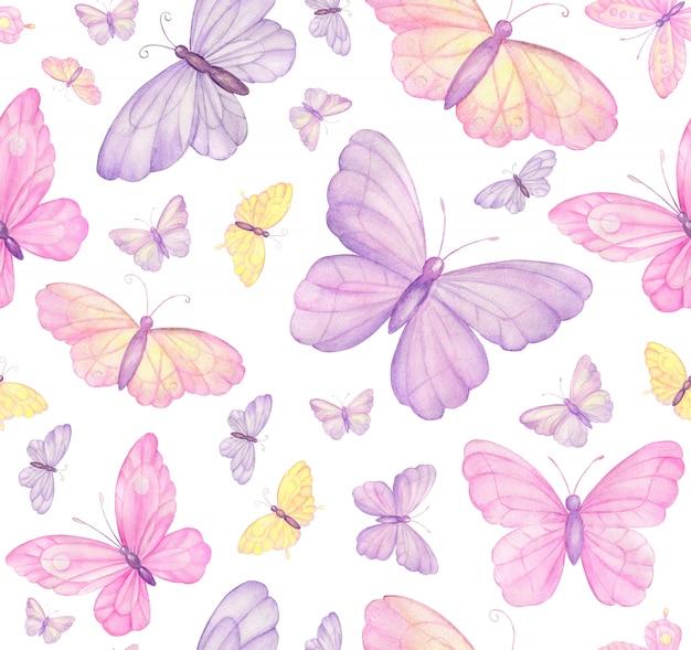 Schmetterlinge auf weißem nahtlosem muster Premium Fotos