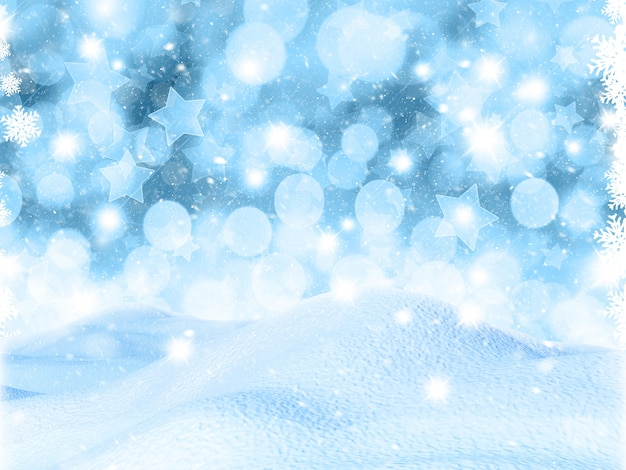 Schneebedeckte landschaft 3d auf bokeh lichtern und sternhintergrund Premium Fotos